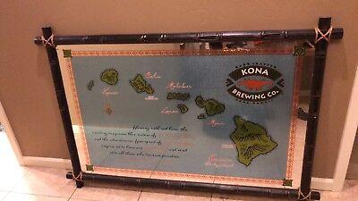 Aloha.  Kona Brewing Hawaii Wood Surfboard Beer Bar Mirror Man Cave
