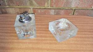Vintage Textured Glass Cigarette Lighter and Ashtray Golden Grove Tea Tree Gully Area Preview