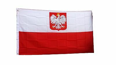 Polska Polish Poland Flag 3' x 5' Polyester Canvas Header & Brass Grommets