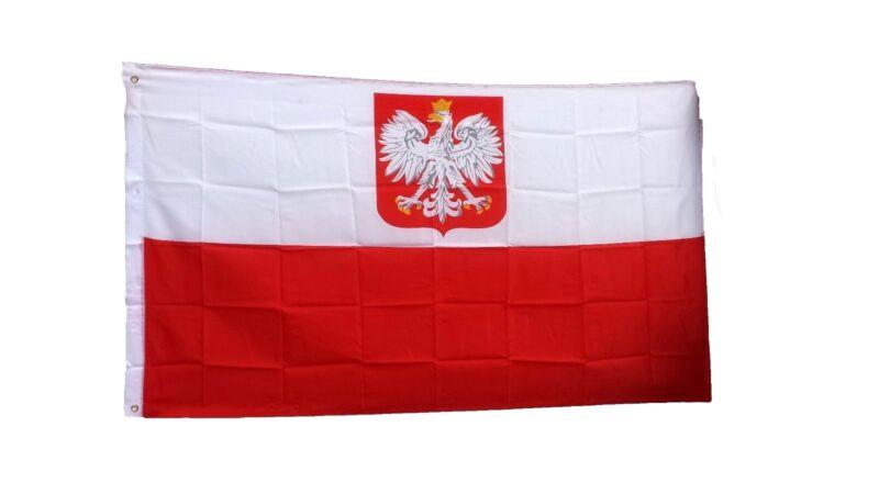 "Polska Polish Poland Flag 12"" x 18"" Polyester Canvas 1-Sided Boat Flag"