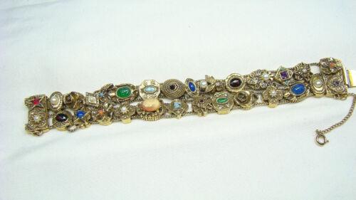 Goldette Wide Victorian Revival Jeweled Slide Bracelet