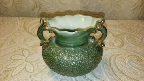 Vintage white Milk Glass Vase w Gold Accents painted green with handles great co