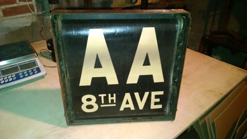 Vintage Nyc Subway Sign Box Aa Gg 8th Fulton Houston Brooklyn Full Ny Roll Sign