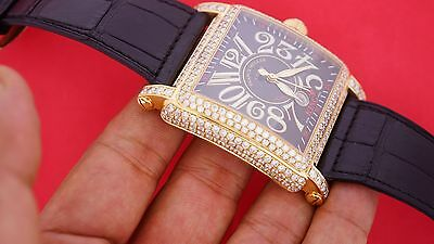 FRANCK MULLER 10000 SC CONQUISTADOR CORTEZ 18K YELLOW GOLD WATCH 16 Ct Diamonds