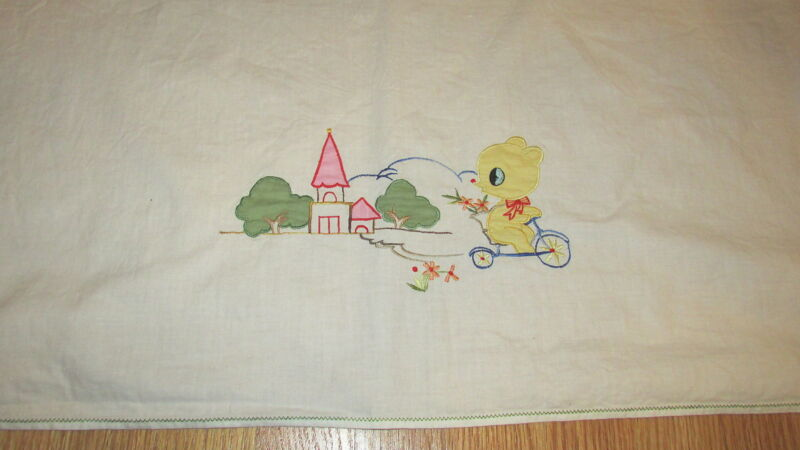 Vintage baby crib blanket sheet coverlet embroidered bear on bike wall hanging