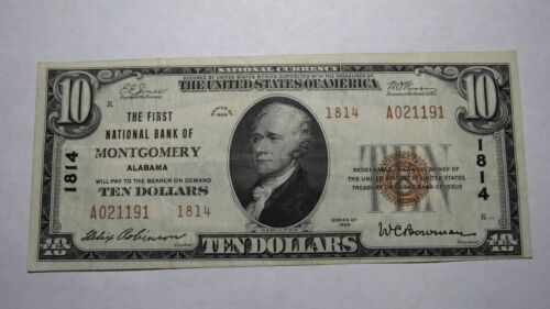 $10 1929 Montgomery Alabama AL National Currency Bank Note Bill! Ch. #1814 VF++