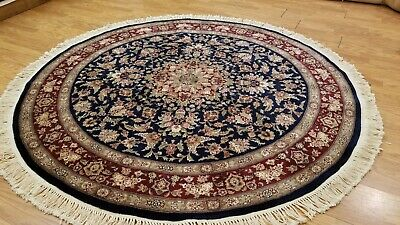 6 x 6 Round Navy blue Persian Design Wool & Silk Hand Knotted Area rug