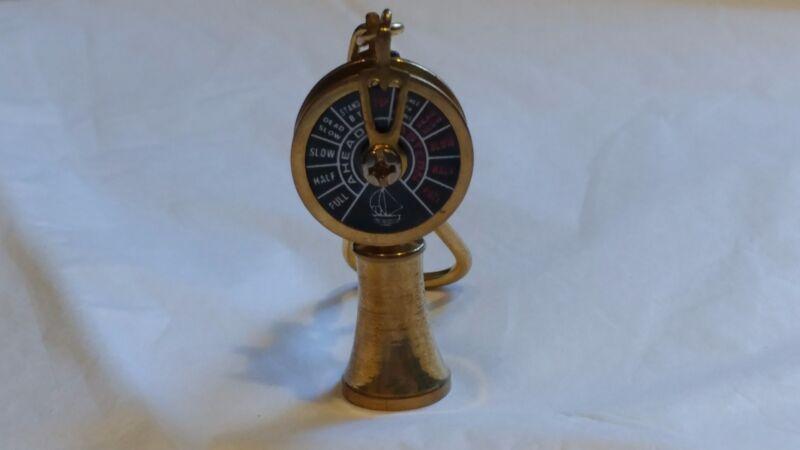 Vintage Nautical Ship Engine Room Telegraph Brass Keychain