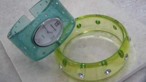 Lucite Bangle Bracelet, Watch, Rhinestones
