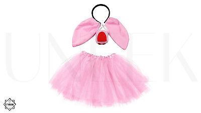Kids Pig Tutu, Ears & Nose Costume - Fancy Dress Halloween Animal Accessory Set (Halloween Pig Ears)