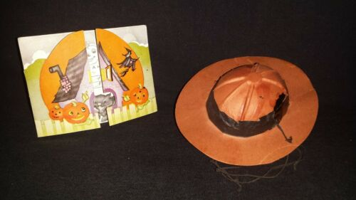 VERY RARE UNIQUE 1945 HALLOWEEN INVITATION AND ORANGE/BLACK PARTY HAT PAPER PULP