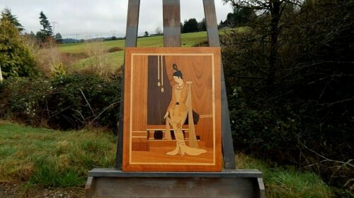 Marquetry: Old Large Handmade Panel of Elegant Asian Lady. Restored & Refinished