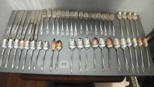 50 PIECES,WM.ROGERS  LOVELY ROSE  SERVICE FOR 8 SILVER PLATE,FORKS,SPOONS,KNIVES