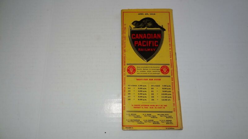 Very Nice Vintage April 4th,1915 Canadian Pacific Railway Timetable