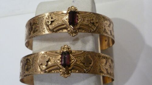 """1860s VICTORIAN MATCHING PAIR GOLD FILLED ETCHED BANGLE BRACELETS 1/2"""" WIDE"""