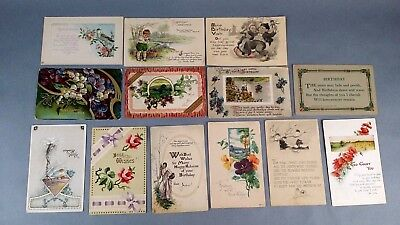 12pc Antique Vintage Lot of Postcards Birthday Greetings Holiday Some w/ stamp