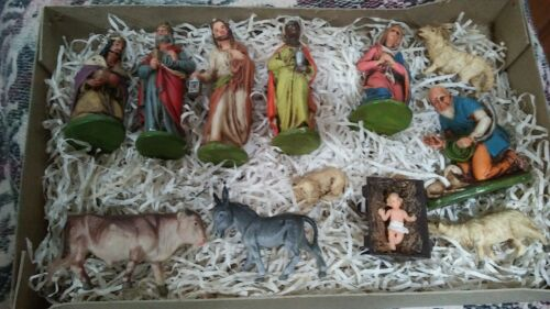 VINTAGE HAND PAINTED NATIVITY SET MADE IN GERMANY