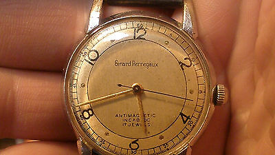girard perregaux mens wind up watch late 40's early 50's 35mm case adjusted nice