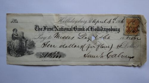 $10.50 1866 Hollidaysburg Pennsylvania PA Cancelled Check! First National Bank