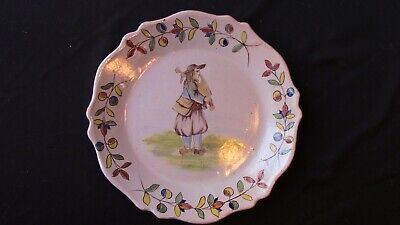 A French Malicorne Plate With A Man and His Instrument