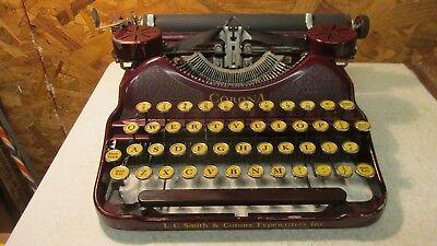 1929 L C Smith Corona Burgandy Red Typewriter Case & Manual