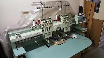 Tajima Commercial Embroidery Machine Tmfx-c902 2 Head 9 Needle Caps And Jackets