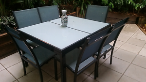 6 seater outside dining table with glass top Paddington Brisbane North West Preview