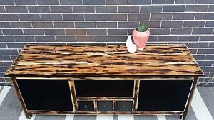Solid Distressed Timber TV Entertainment Unit Stand Dark Brown Coogee Eastern Suburbs Preview