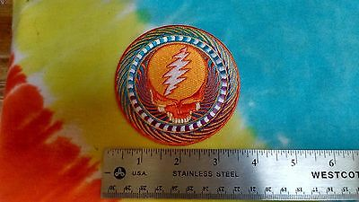 Grateful Dead Steal Your Face Orange Sunshine 3.5 Inch Iron On Patch