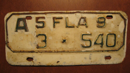 Vintage 1959 Florida Motorcycle License Plate from Hillsborough County #3-540