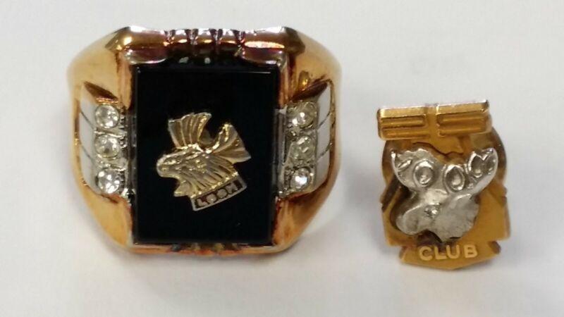 Antique Loyal Order of Moose LOOM 14K GE Ring & 25 Year Club 1/10 10K Gold Pin.