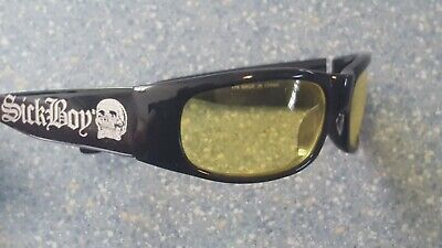 Sick Boy Sport Wrap Sport Sunglasses White Skull Yellow (Sick Sunglasses)