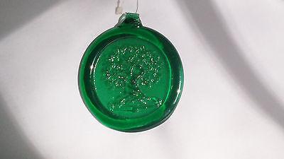 "Hanging Glass Ornament ~Tree of Life ~ Green 3.75"" Diam. ~ Garden Window Decor"