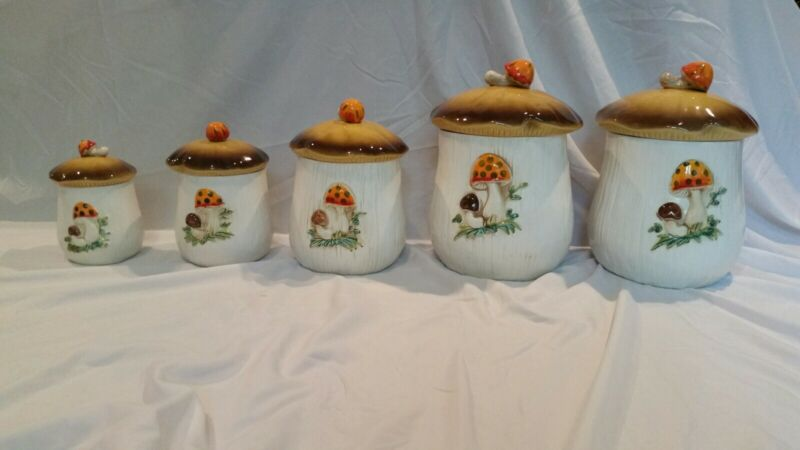 Vintage Merry Mushroom Ceramic Canister Set of 5 Sears Roebuck and Co.1976