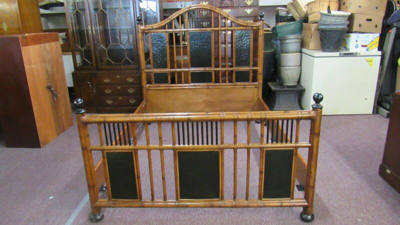 Signed Baker Queen Poster Bed Bamboo  Designer