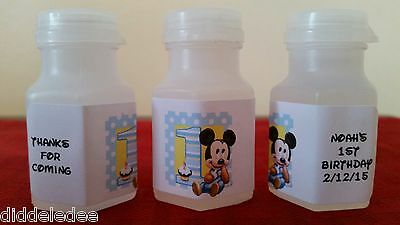 First Birthday Favors (Mickey Mouse 1st First Birthday Bubble labels Party Favors 30)