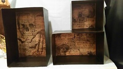 Bethany Lowe Designs  ~ Spooky Cubbies ~ Set of Three