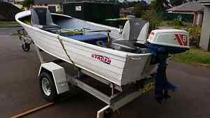 Stacer 3.66m aluminium Tinny Dinghy 8hp Suzuki Motor Good boat Newcastle Newcastle Area Preview