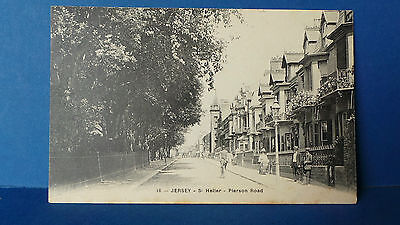 Jersey Channel Islands Postcard Pierson Road by G Barre no.18 c1905 Street Scene