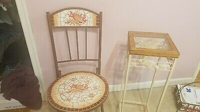 2x Mosaic Bistro Chair and Table Set Outdoor Garden Patio Bathroom Shells Steel Mosaic Patio Bistro Set