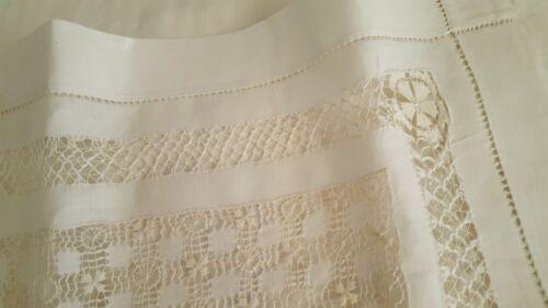 Antique white Irish celtic linen Drawn hand work tablecloth 30 x 30 vtg