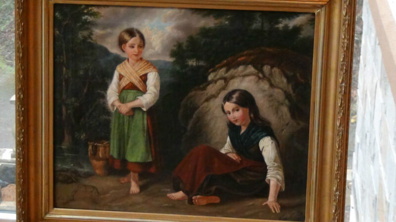 """Calla Lindhe ,1857 Italy Oil On Canvas Painting """"two Girls In Landscape"""""""