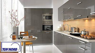 große Einbauküche Küche 420cm mit Hochschränken - modern grau hochglanz