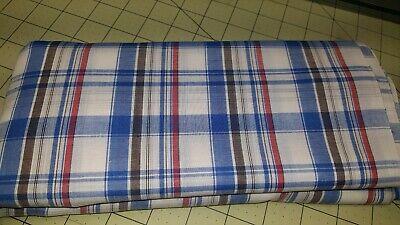 "Vintage Cotton Shirt Lightweight Fabric Plaid Blue Pink White 2 Yds 6"" L x 60"" W"