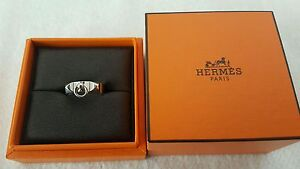 Authentic Hermes silver CDC Collier de Chien ring narrow size 53