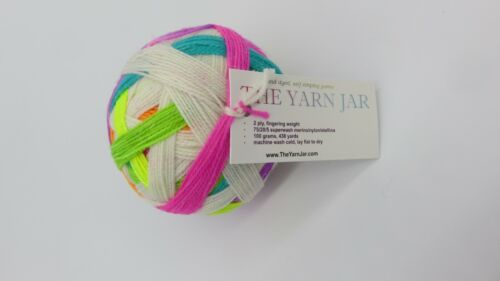 Self Striping Sparkle Sock Yarn Ball The Yarn Jar 100g Unicorns Merino, Nylon