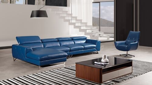 3pc Modern Blue Italian Full Top Grain Leather Sectional Sofa Chaise Chair Set