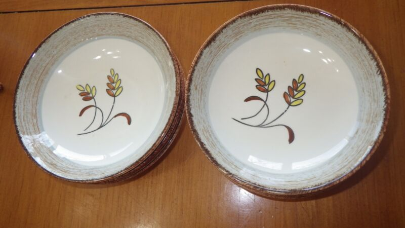 "Vintage Harvest Oats Blue Ridge Southern Pottery dessert fruit bowls 8 5.5"""