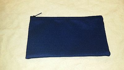 1 Brand New Heavy Dark Blue Canvas Bank Deposit Money Bag