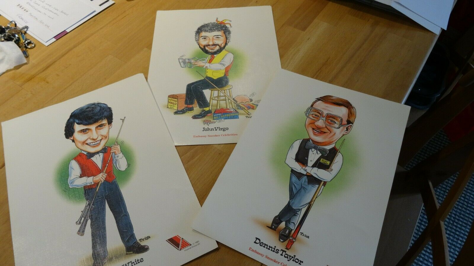 Set of 3 Embassy Snooker Celebrities Cartoon Portraits, Virgo, Taylor and White A4